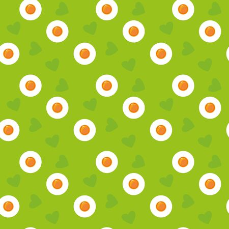 Cute cartoon seamless green eggs pattern. Spring Easter print fried eggs and hearts. Holidays concept. Can be used as texture, background. Stock vector illustration in flat style