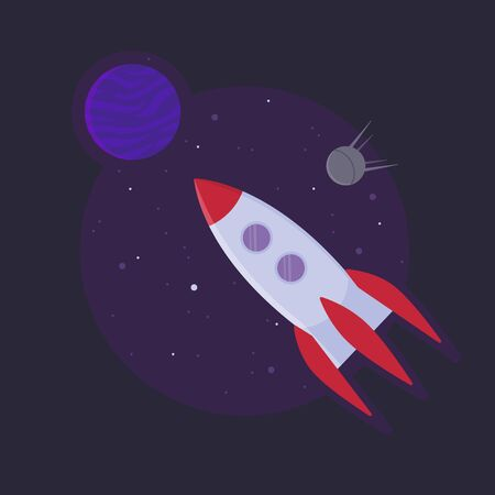 Space rocket ship into open space. Startup sucess concept. Stock vector illustration in flat style