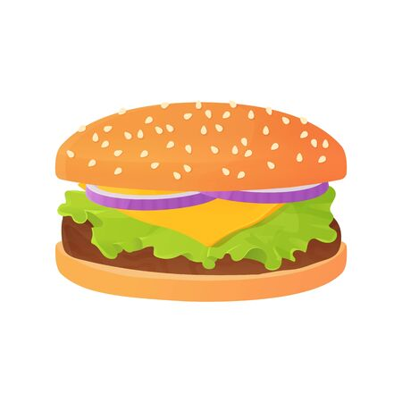 Delicious Cartoon cheeseburger with onion, and salad or lettuce, beef steak and bun with sesame.Fastfood concept. Unhealthy lunch. Stock vector illustration isolated on white background in flat style Ilustração