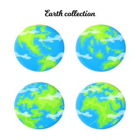 Cartoon Earth set with different planet angle. Ecology and reuse concept. Global environment problem. Stock vector illustration in flat style isolated on a white background Ilustração