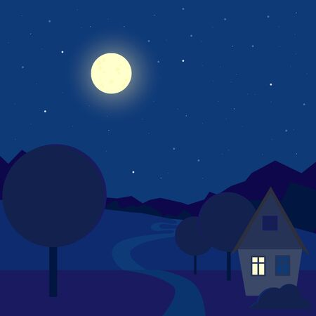 Cartoon night outdoor landscape. Contryside house near the path. Midnight blue sky. Stock vector illustration in flat style. Villiage background
