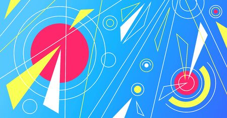 Abstract vibrant trendy pop art  with lines, circles, triangles.