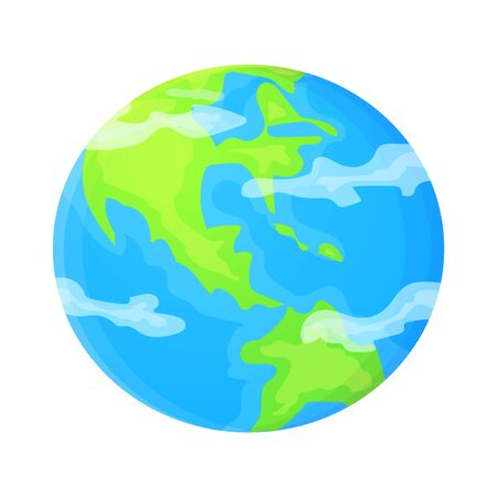Simple planet Earth vector illustration in flat cartoon style. Global concept