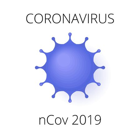 Coronavirus nCov 2019 card. China pandemic, novel flu concept. Can be used as flyer, banner or print. Flat cartoon illustration isolated on white background in cartoon style Ilustração