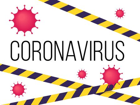 Coronavirus banner. Stop coronavirus poster. Pandemic concept. Can be used as flyer, banner or print. Flat cartoon illustration isolated on white background in cartoon style.