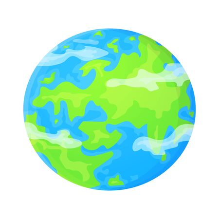Flat Earth template in cartoon style. World environment concept. Cute vector illustration isolated on white background