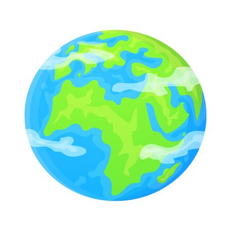 Flat Earth planet clipart. Cute cartoon object. Can be used as global symbol. Ecology concept. Stock vector illustration isolated on white background Ilustração