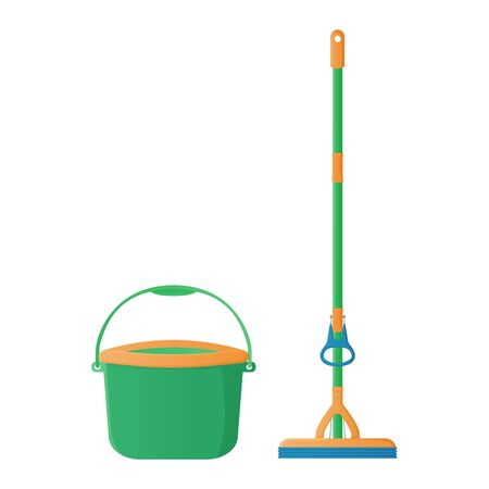 Cartoon sponge mop with hand rubber squeezer with bucket stock vector illustration. Cleaning services, household concept. Equipment for housework elements isolated on white background Ilustração