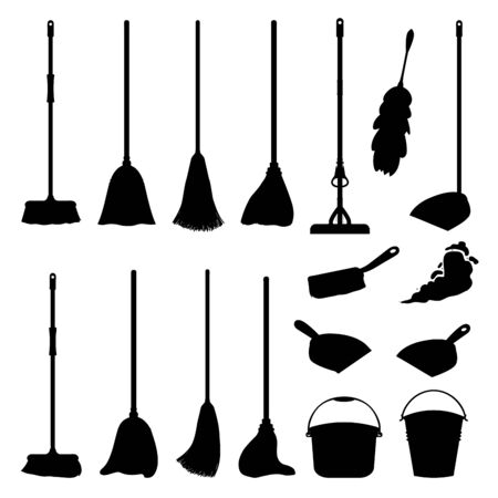 Cartoon household equipment set. A broom sweeps dust and dirt on scoop. mop or swab, feather duster, plastic bucket.Cleaning services, concept. Objects isolated white background. Stock vector