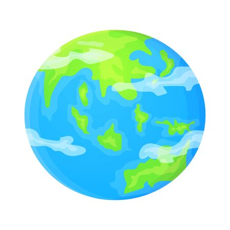 Cartoon Earth planet. Stock vector illustration in flat style isolated on white background Ilustração