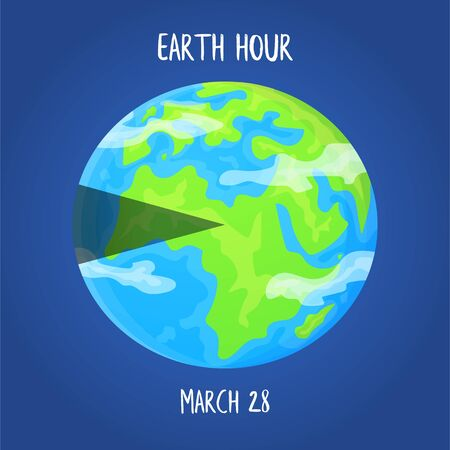 Earth hour day concept. Planet with highlighted segment. Stock vector illustration on blue background in flat style