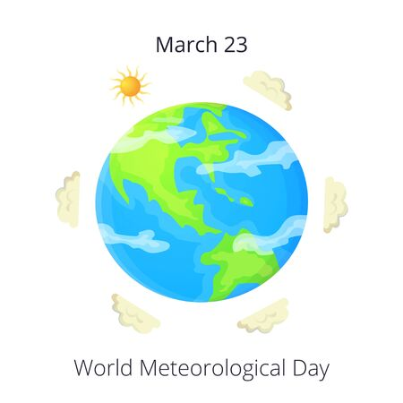 Cartoon world meteorological day card or poster. Sun and clouds around Earth. Meteorology concept. Flat vector illustration isolated on white background Ilustração