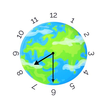 Earth Day concept. Planet with clock face and clock hands. Stock vector illustration isolated on white background in flat style