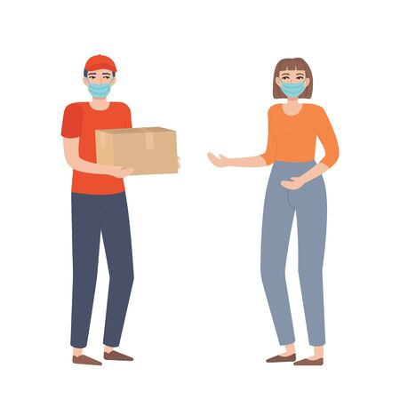 Courier boy in a face mask holding a box. Food or goods delivery during the covid 19 concept. Girl waiting her package. Stock vector illustration in cartoon flat style isolated on white background