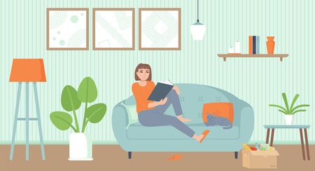 Home entertainment, isolation period, relax concept. Cozy interior living room with a cat. Girl on sofa reading a book. Stock vector illustration in cartoon flat style. Ilustração
