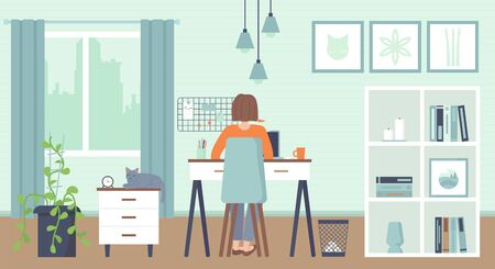 Yong woman sitting at a computer at home. Cozy interior. Home office, Working at home, freelance, remote work concept.Stock vector illustration.