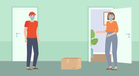 Safe contactless food delivery. Courier in mask bring package. Girl standing behind open door. Distance during quarantine. Online ordering, delivery concept. Stock vector illustration in flat cartoon.