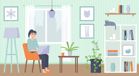 Yong woman sitting on armchair with laptop. Cozy interior. Home office, Working at home, freelance, remote work concept. Stock vector illustration in flat cartoon style.
