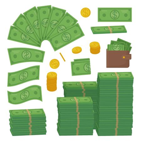 Money set. Dollars and coins as heap, stack. Can be used as succes, economy, finance, cash concept. Stock vector illustration isolated on white background.