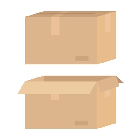 Brown cardboard box opened and closed. Delivery, transportation, post concept. Stock vector illustration isolated on white background in flat cartoon style.