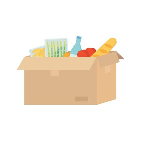 Open cardboard box with food, water, asparagus, baguette, tomato, mango. Food delivery, transportation, post concept. Stock vector illustration isolated on white background in flat cartoon style. Ilustração