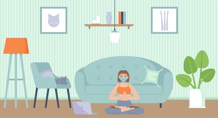 Young beautiful girl in face mask sitting in yoga lotus position in apartment. Health, mental and body relaxation, meditation, fitness, sport, quarantine activity concept. Stock vector illustration in flat cartoon style. Vectores