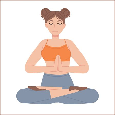 Cute girl in lotus asana with joined hands and closed eyes. Meditation, mental health, relaxation, yoga,fitness, stress management concept. Stock vector illustration isolated on white background in flat cartoon style.