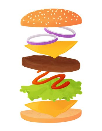 Classic burger ingredients set on layers. contain sesame bun, beaf cutlet or meat, cheese, lettuce, ketchup sauce, onion rings. Fastfood concept. Stock vector illustration in flat cartoon style isolated on white background. Ilustracja
