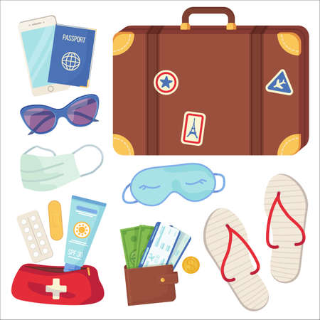 Set of travel essential objects. Passenger luggage, holiday journey, tourism and travel, planning vacation during covid social distance concept. Stock vector illustration isolated on white background