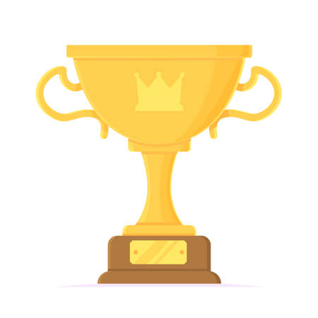 Cartoon winner cup object. Golden trophy with crown. Prize, success, competition, achievement, congratulations concept. Stock vector element isolated on white background in flat style 向量圖像