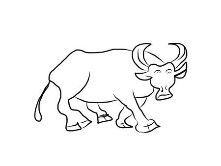 Painted buffalo on white background, vector illustration