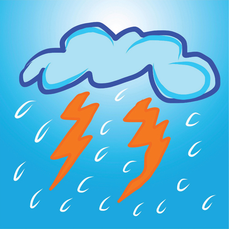 electrochemical: lightning clouds background illustration with blue and white