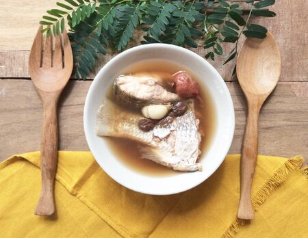 fish: Fish soup with ginger Stock Photo