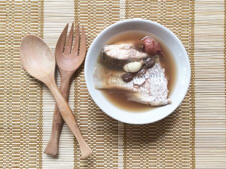 cloth: Fish soup with ginger Stock Photo