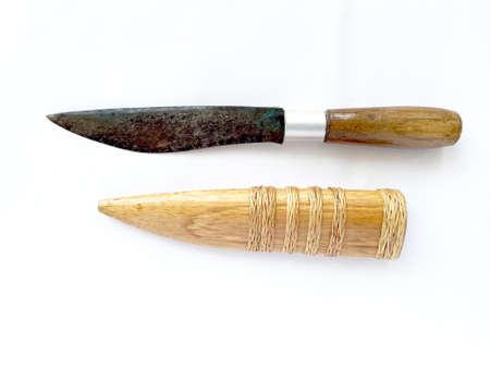 style: Kitchen knife on white background