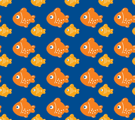 Orange fishes, seamless pattern of fish Vector