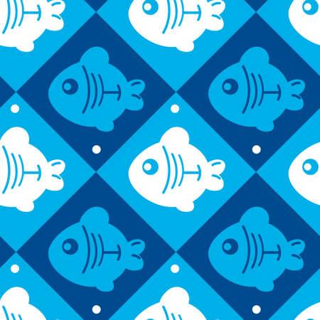 seamless pattern of fish in rhombus Vector