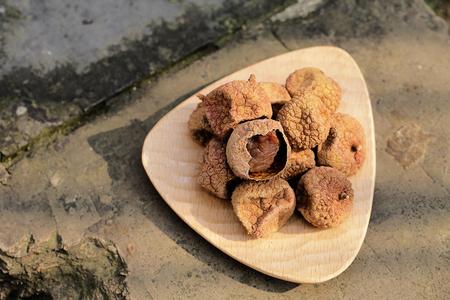 litchi: Dry litchi Stock Photo