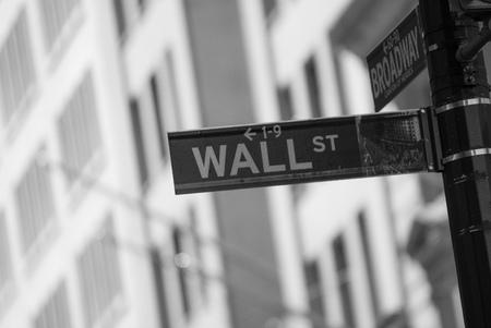 Wall Street street sign in Lower Manhattan, NYC