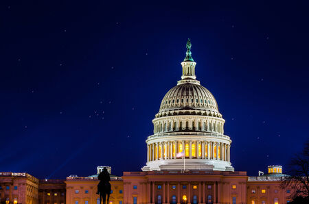 The US Capitol at night with stars Stok Fotoğraf