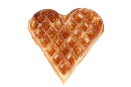 baked heart waffle isolated on white background Stock Photo