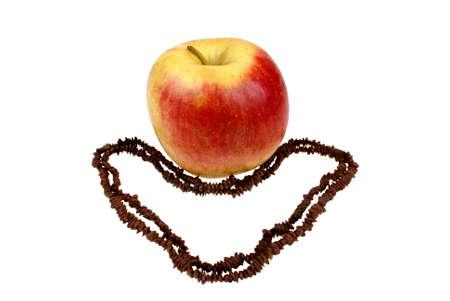 pips: grote appel en het hart van pitten geïsoleerd op witte achtergrond Stockfoto
