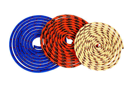 superimposed: colorful strings convoluted and superimposed on each other isolated on white background