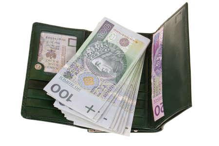 payout: billetera llena de dinero aisladas sobre fondo blanco  Foto de archivo