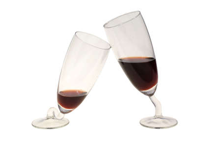 drunkenness: crooked glass with wine isolated on white  Stock Photo