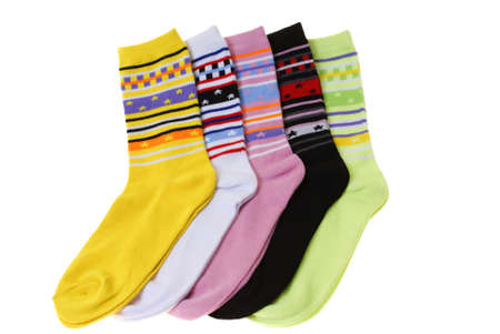 colourful pairs of socks isolated on white background