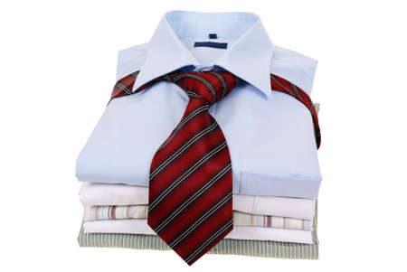 men's shirts tied with tie isolated on white background Stock Photo