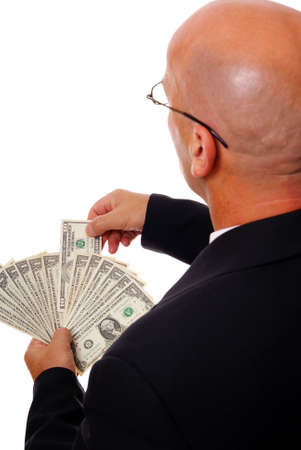 man in spectacles with money on white background Stock Photo - 5536146