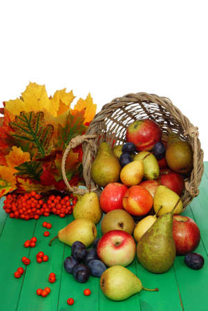 full basket of fruit the decorated leaf photo