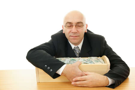 man keep trough with money on white background